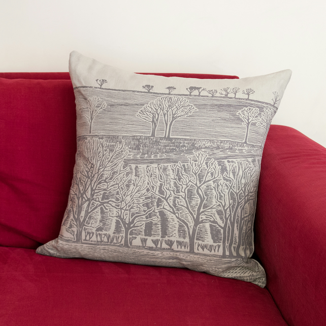 "Cold Spell ""Tree Line"" linen cushion"