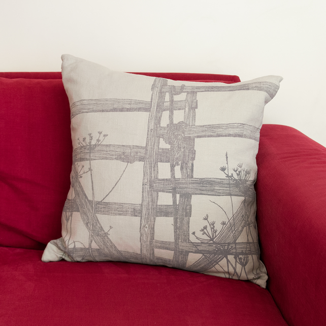 "Cold Spell ""Fence"" linen cushion"