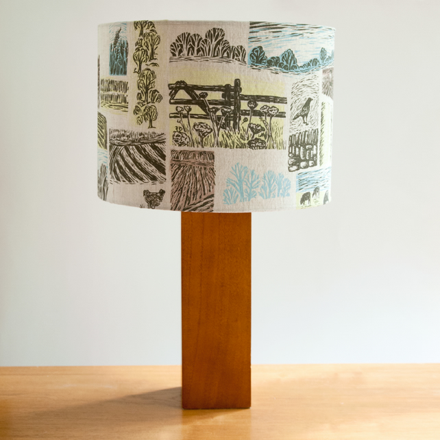 Farm Yarns 30cm lampshade, hand screen printed onto linen