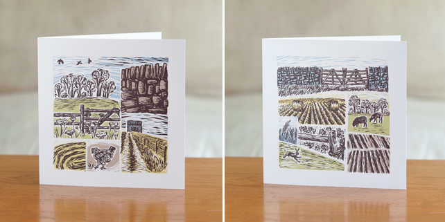 Farm Yarns greetings cards - one each of both designs