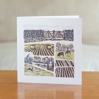 "Farm Yarns ""Hare"" design greetings card"