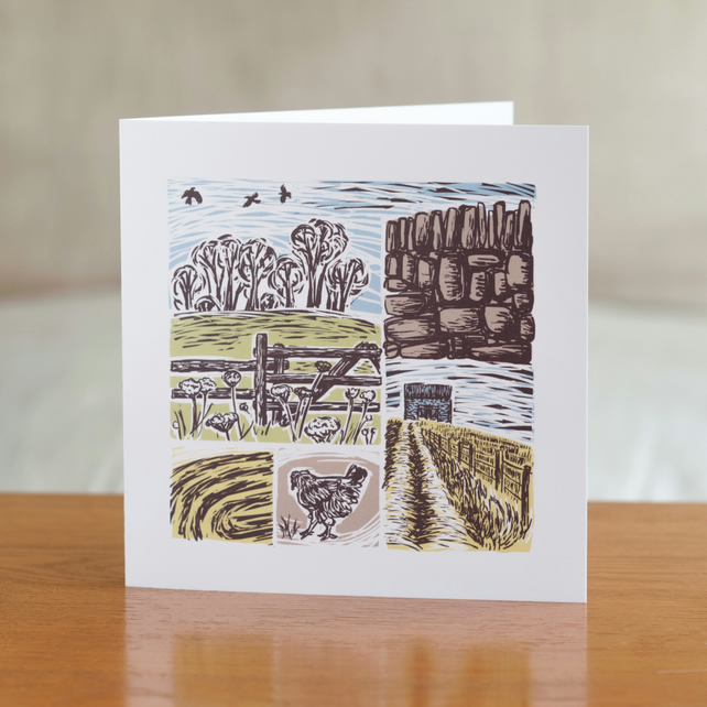 "Farm Yarns ""Chicken"" design greetings card"