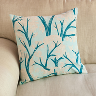 "Cover Story ""Branch and Leaves"" design 45cm square cushion"