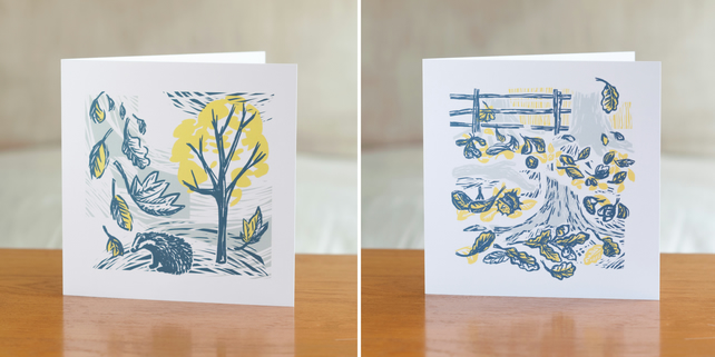 Two Cover Story greetings cards - one each of both designs
