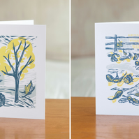 SALE 20% OFF Two Cover Story greetings cards - one each of both designs