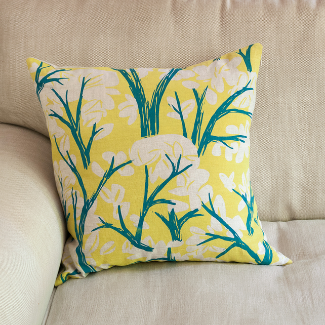 "Cover Story ""Branch and Leaves"" 45cm square cushion"
