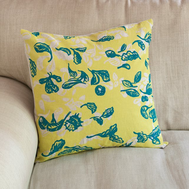"Cover Story ""Fallen Leaves"" 45cm square cushion in yellow & blue"