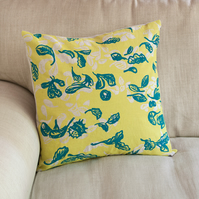 "SALE 33% OFF Cover Story ""Fallen Leaves"" 45cm square cushion in yellow & blue"
