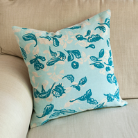 "SALE 33% OFF Cover Story ""Fallen Leaves"" 45cm square cushion in blues"