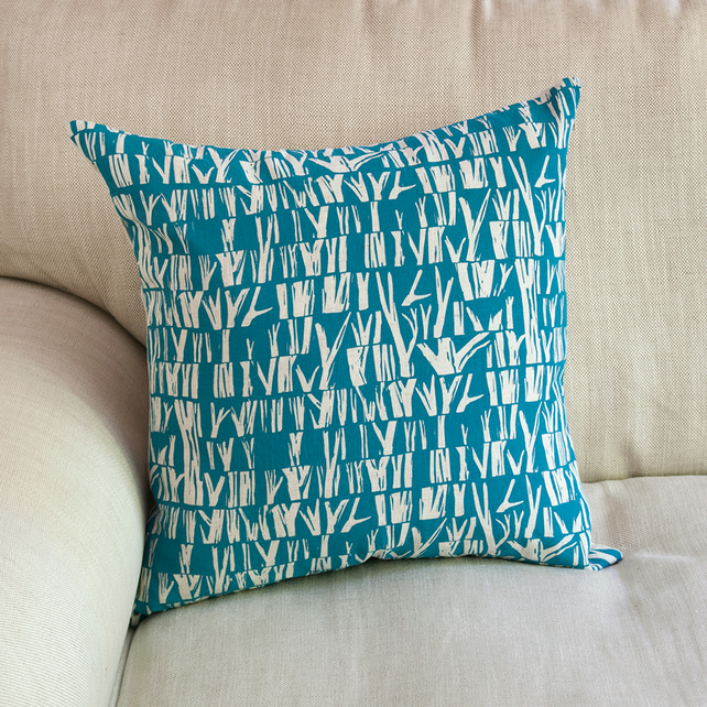 "Cover Story ""Branches"" pattern, 45cm square cushion in dark blue"