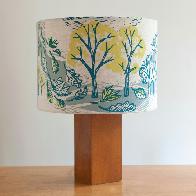 Cover Story 30cm lampshade, hand screen printed onto linen
