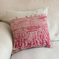 "SALE 33% OFF Cold Spell ""Tree Line"" linen cushion"