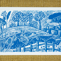 Teasel and Hare screen print