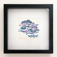 "Flow and Furrow ""Thrift and Rocks"" woodcut print framed"