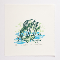 "Flow and Furrow ""Trout and Grasses"" woodcut print"
