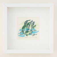 "Flow and Furrow ""Trout and Grasses"" woodcut print framed"