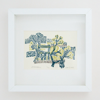 "Flow and Furrow ""Hedgerow"" woodcut print framed"