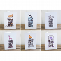 Winter Drifts cards set of all six designs, Christmas cards, blank inside