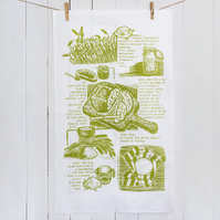 Sourdough story tea towel available in three colours