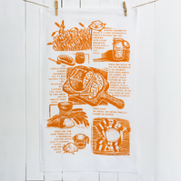 Sourdough story tea towel available in four colours