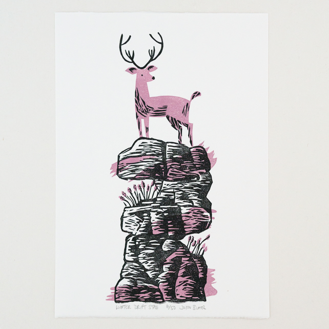 "Winter Drifts ""Stag"" linocut print"