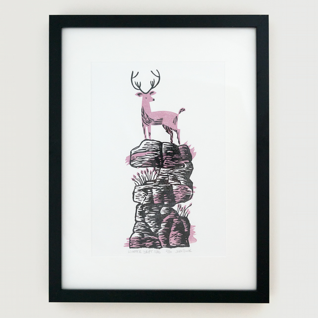 "Winter Drifts ""Stag"" linocut print, framed"