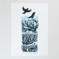 "Winter Drifts ""Crows"" linocut print"