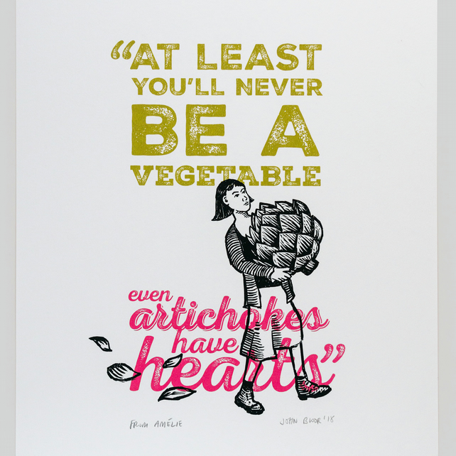 "Amélie ""Artichoke"" quote screen print"