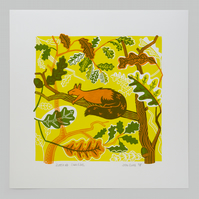 Sleeping Squirrel hand pulled screen print