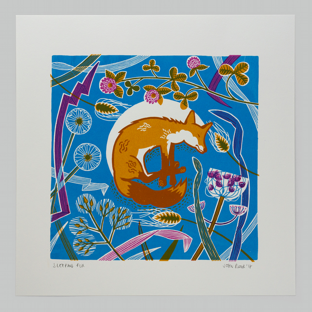 Sleeping Fox hand pulled screen print