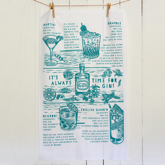 Gin cocktail tea towel