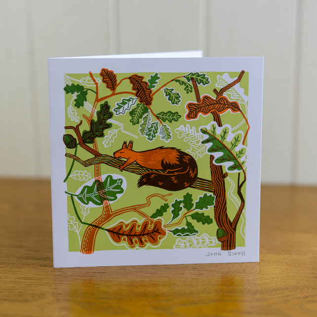 Sleeping Animals Squirrel greetings card, Christmas card, blank inside