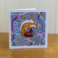Sleeping Animals Fox greetings card, Christmas card, blank inside