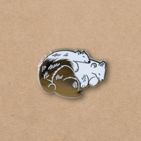 Sleeping Bears hard enamel pin, hugging, love and friendship, hug, bear