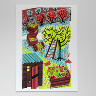 Orchard Harvest screen print limited edition, apples, moths, rabbit screenprint