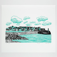 """St Ives"" two colour lino print, Cornwall, seaside, coast"