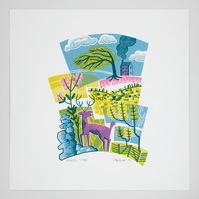 Majestic Stag hand pulled screen print, heather, gorse, rocks