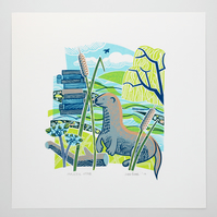 Majestic Otter hand pulled screen print, riverbank, river, willow, bridge