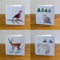 All four Animal Christmas cards, Winter cards, blank inside