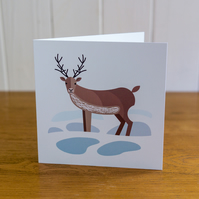Reindeer Christmas card, Winter card, blank inside