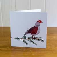Partridge Christmas card, Winter card, blank inside