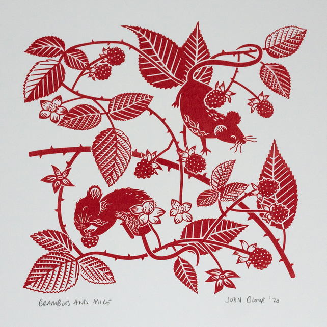 Brambles and Mice hand pulled screen print