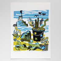 Beach Findings screen print limited edition, hand pulled print