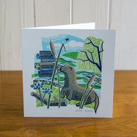 Majestic Animals Otter greetings card, blank inside