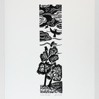 """Crow Flight"" lino print, crows flying up from trees linocut"
