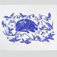 Bluebells and Deer hand pulled screen print