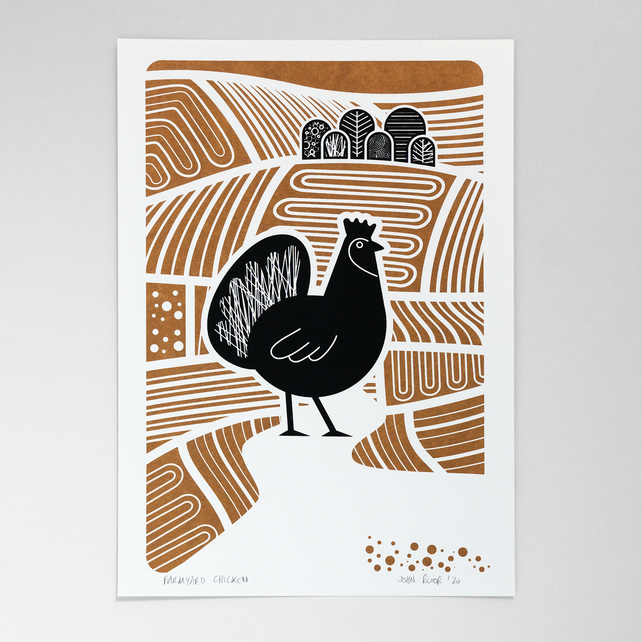 Farmyard Chicken hand pulled screen print