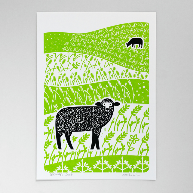 Farmyard Sheep hand pulled screen print
