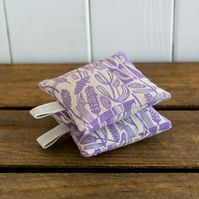 Set Of Two Lavender Bags With Loops