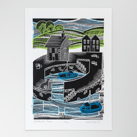 """Harbour House"" screen print"